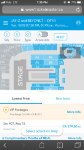 Beyonce floor tickets October 2nd, 2018