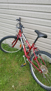 Kids Red bike, the brand is supercycle.