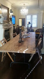 Rustic 4 Plank Reclaimed Wood Trestle Table,Dining Table,Banquet