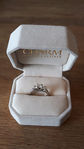 White Gold & Diamond Engagement Ring and Wedding Band Set