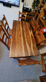 Solid Jali Sheesham rustic style dining table with 6 chairs