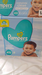 4 packs of Pampers complete clean