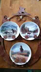 Western themed plate rack with 3 plates