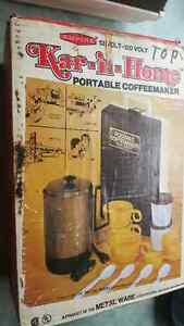 Vintage Kar'n'Home portable percolator coffeemaker in box with a