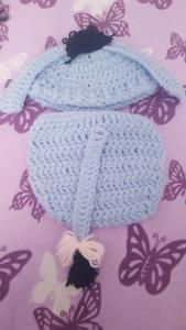 Adorable handmade eeyor hat and diaper cover