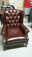 CUSTOM MADE TUFTED LEATHER CHESTERFIELD AND WING CHAIR