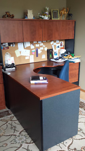 Multi- Piece L-Shaped Desk Set in very good condition