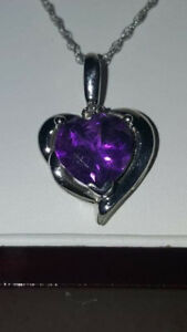 Purple Amethyst H - I Diamond 14K White Gold Pendant