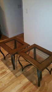 Moving sale.  2 glass and wood end tables including lamps