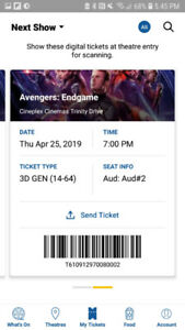 Two Avengers Endgame tickets for the opening night
