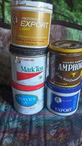 5 OLD TOBACCO TINS