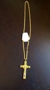 18K gold plated Double face Cross and long chain.