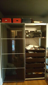 Ikea Pax wardrobe with 10 drawers and sliding doors