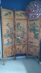 Chinese painted bamboo screen; $60