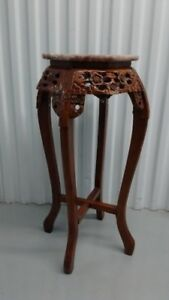 Old Chinese Wood Stand, Marble  Top, ,75 CM tall