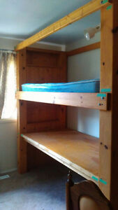 Solid wood bunk bed with mattress - excellent condition
