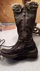 Dark brown real leather winter booths size 36 Cambridge Kitchener Area image 3