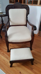 Antique Chair With Matching Foot Stool For Sale