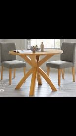 Next solid oak round dining table £200