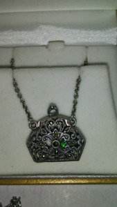 Purse look silver marquasite necklace