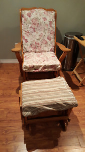 Sturdy rocking chair and ottoman