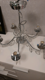 Pair of chrome /silver chandeliers