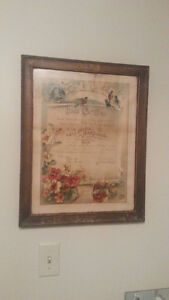 VINTAGE WEDDING CERTIFICATE - MONTREAL CANADA