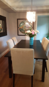 Dining Room Set - expanding black table PLUS eight chairs!!