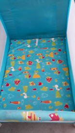 Travel cot. With carry bag., with additional mattress and fitted sheet