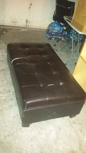 Large Black Leather Ottoman with Storage Compartment