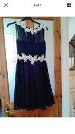 NEW Little Mistress navy skater style dress size 10