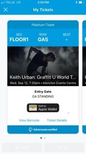 Two GA Platinum Floor Seats  Keith Urban Tickets
