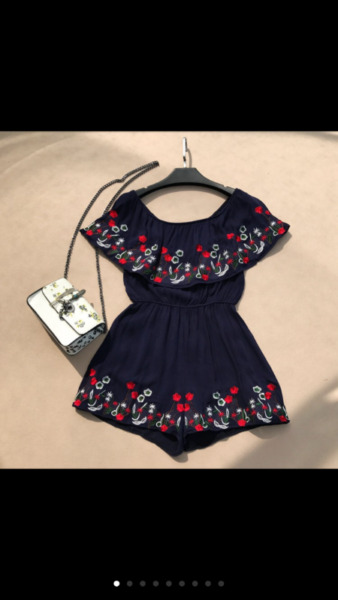 Floral Embroidery romper women girl