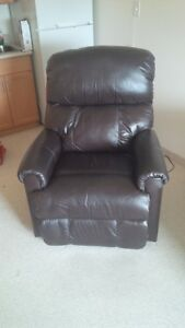 Electric brown leather recliner