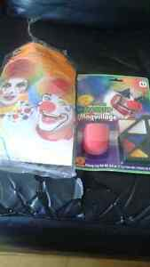 Brand new adult clown wig and makeup