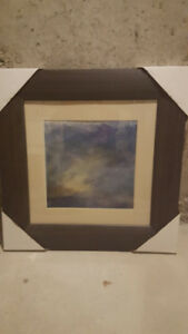 Abstract wall painting on wood frame and glass