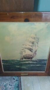 Rustic ships at sea with beautiful hardwood framing