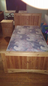 Single Bed with Trundle Bed and Night Stand - Solid Pine