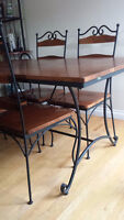 Solid Wood and Wrought Iron Table with Four Chairs