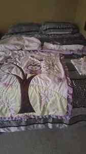 Purple owl crib bedding