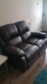 Dark Brown Leather manual recliners sofa