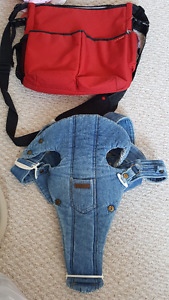Skip Hop diaper bag + baby bjorn carrier denim