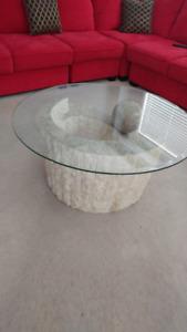 Glass/Rock Coffee Table