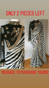 Black and white Saree