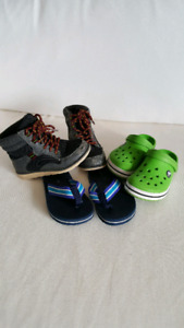 Size 10/11 Kids crocs - hiking boots - sandals