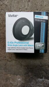 New Vivitar 58mm 0.43x Professional Wide Angle Lens With Macro