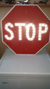 "24"" Vintage Red Porcelain Stop Sign with Reflectors London Ontario image 2"