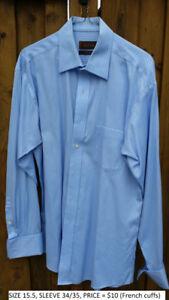 "Men's Long Sleeve Shirts w/ FRENCH CUFFS. 15"" + 15.5"". $10 each."