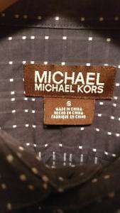 New Michael Kors (small/medium) dress shirt - navy dot+stripes