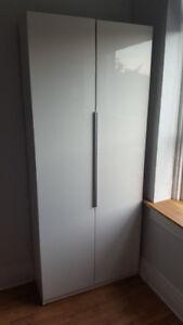 IKEA PAX Wardrobe Cabinet Dresser w Ballstad doors, white